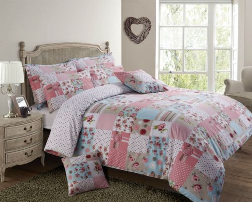 PINK & BLUE COLOUR PATCHWORK DESIGN REVERSIBLE BEDDING DUVET QUILT COVER SET